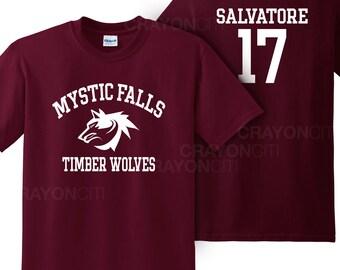 Vampire Diaries Mystic Falls Salvatore 17 Timberwolves tshirt