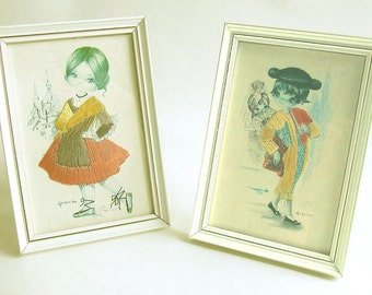 Vintage Gallarda Embroidered Picture x 2 Set 2 ~ Spanish boy girl mid century kitsch cute big eyed art postcard print standing/wall frame