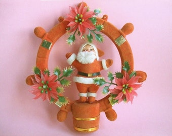 Vintage Flocked Santa Ship's Wheel ~ 1960's red wall hanging ornament  kitsch poinsettia plastic wreath decoration nautical retro Christmas