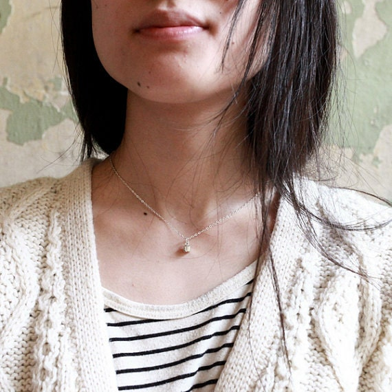 Tiny Necklace, Layering Necklace, Silver Necklace, Layered Necklace, Square Necklace, Dainty Necklace, Cube Necklace, Square Necklace