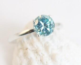 Moissanite, Light Blue, Moissanite Ring, Size 7,  Blue Moissanite, Silver Ring, Sterling Silver, Colored Moissanite, Conflict Free