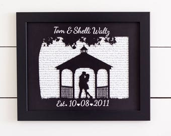 Wedding Song Lyric Art, First Anniversary Gift, First Dance Song Lyrics, Paper Anniversary, Wedding Vows, Gift for Couples, Outside Wedding