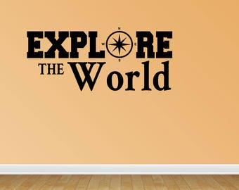Wall Decal Quote Explore The World Compass Decal Home Decor Travel Vacation Decor Vinyl Decals Stickers Lettering Quotes (PC287)