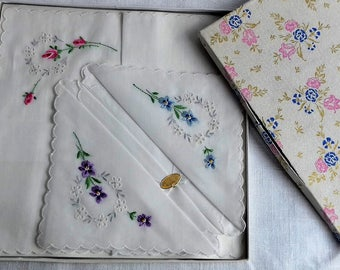 Boxed Embroidered Swiss Made Vintage Hankies
