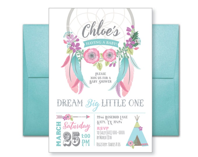Dreamcatcher Baby Shower Invitation / Boho Baby Shower / Gender Neutral / Flowers, feathers, arrows, Boho inspired