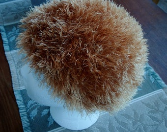 Adorable Hand Knit Hat, Golden Brown.  Made with fun fur yarn. Perfect for your toddler or young child.