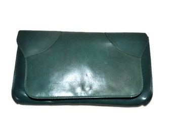Green Envelope Clutch Bag // Vintage Leather Handbag // Evening Bag