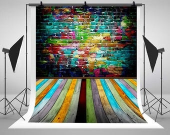 Newborn Baby Graffiti Brick Wall Photography Backdrops Colored Wood Floor Photo Backgrounds for Children Studio Props S-1897