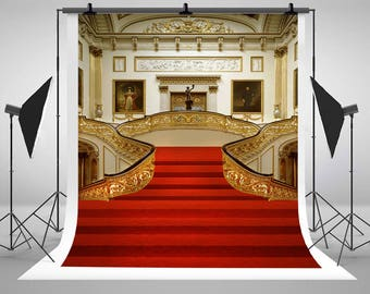 Wedding Photography Backdrops Red Carpet Backgrounds Church Palace Pillar Chandelier Photo Studio N10228