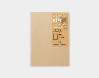Traveler's Notebook 009 Kraft Paper Notebook | Refill for Passport Size Traveler's Notebook | Midori Insert (14373006)