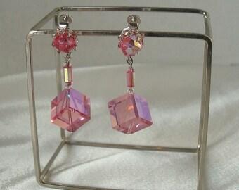 Vintage Vendome Swarovski 5600 Rose AB Pink Crystal Cube Dangle Clip Earrings