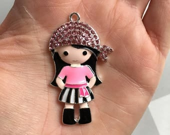 H23 Pink Pirate Girl Rhinestone Pendant for Chunky Necklaces