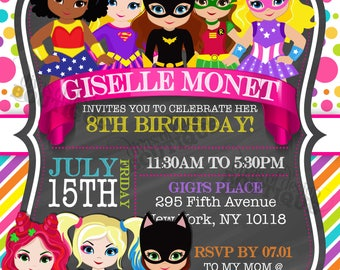GISELLE - Superhero Invitation; Girl Superhero Invitation; Birthday Invitation; Printable Superhero Invitation