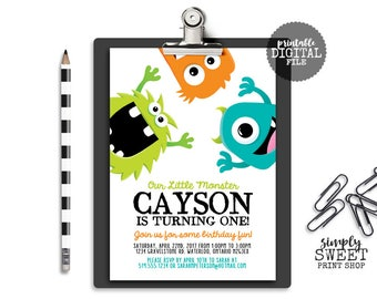 Monster Boy Birthday Party Invitation Invite Monster Bash White Blue Green Orange Turquoise Fun Funny Silly Cute First One 1st Celebration
