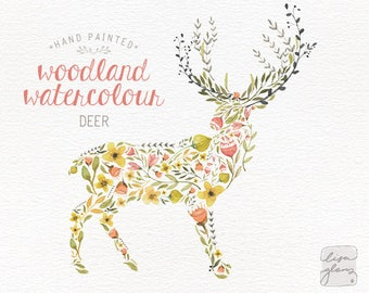 Watercolor deer: 1 PNG floral clipart / flowers / leaves and branches / Antler / Wedding invitation clip art / commercial use / CM0059a