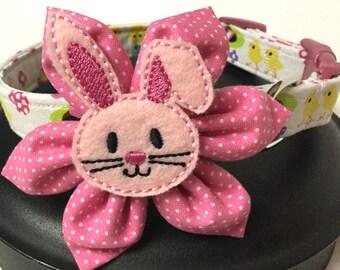Dog collar, Easter dog collar, Easter bunny dog collar, pink dog collar, flower dog collar, flower accessory. Adjustable dog collar