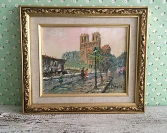 French Impressionist Oil Painting Signed Davis, French Street Scene, Heavily Textured Palette Knife Impressionist Painting