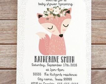 Fox Baby shower invitation, forest animals, woodland theme invites, forest friends invitation, printable woodland invite, baby girl 13