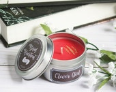 Clever Girl soy candle tin inspired by Jurassic Park