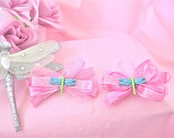 Dragonfly Pink Hair Bow Barrettes Set Of 2