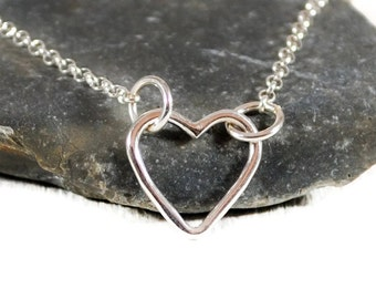 Tiny Sterling Heart Chain Necklace. Silver Open Heart Layered Necklace. Delicate Sideways Heart Necklace. Minimalist Jewelry By GSminimal
