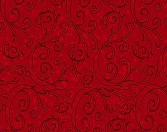 Red Swirl Fabric Yardage. Holiday Traditions Henry Glass. Red Holiday Fabric. Red Quilt Fabric. Red Holiday Quilt Fabric. Quilting Fabric.