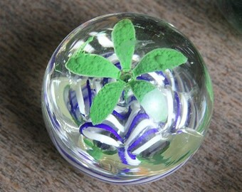 Blue, green and white paperweight - From a long time collection