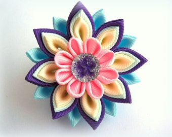 Hair clip purple pink blue kanzashi flower pin kids ponytail holders colorful baby hair tie handmade jewelry for girls toddler fabric flower