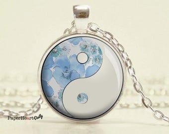 Yin Yang Necklace - Blue - Yin Yang - Pendant - Tao - Taoist - Jewelry - (B6663)