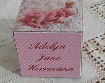 Baby Girl Personalized wooden block / Baptism Block/ Baby Announcement wooden block/ hostess gift idea .