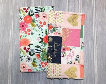 Baby Girl Burp Cloth Set of 2 - Minky Burp Cloths - Metallic Gold - Floral Burp Cloths - Baby Gift - Baby Shower Gift - Baby Burp Cloth