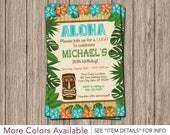 Luau Birthday Invitation - Hawaiian Beach Party Invitations