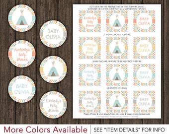 "Tribal Baby Shower Cupcake Toppers - Printable Teepee 2"" Cupcake Toppers"