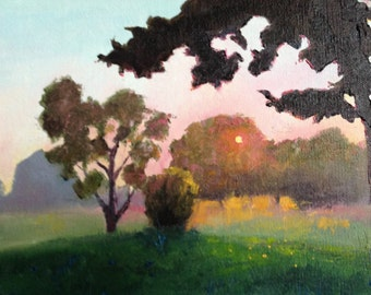Golf Course Painting, Dawn Painting, Sunny Morning on the Golf Course, Painting for a Guy