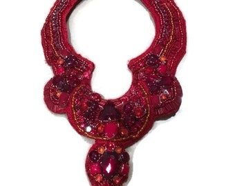 RUBY red rhinestone statement bib handsewn.