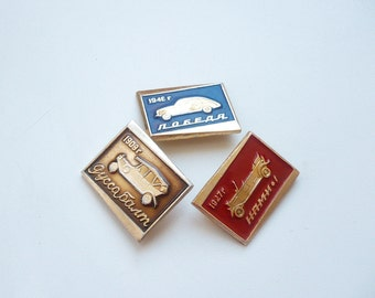 Set of 3 vintage Soviet badge of the 1970s