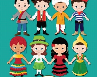 Children of the World clipart PART 2, Children around the World, World Children, Global clipart, Children, Unity clipart, Ethnic Kids