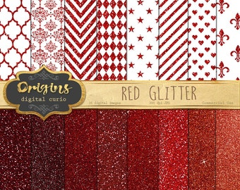 Red Glitter Digital Paper - Red and White Valentine Scrapbook Paper, Red Digital Paper, Glitter ...