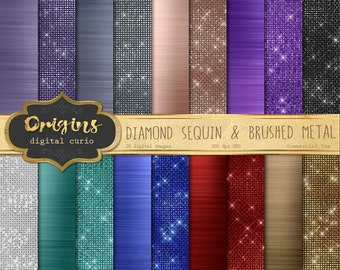 Diamond Sequin and Brushed Metal Textures, Digital Paper and png overlays, glam sparkle diamanté backgrounds, sparkle glitter graphics