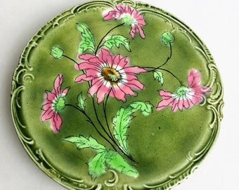 1890s Faience majolica pottery tea tile or plate green pink floral design Astra by Ludwig Wessel Imperial Bonn Germany
