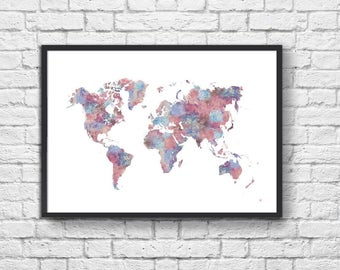 Art-Poster 50 x 70 cm - Painting Woldmap