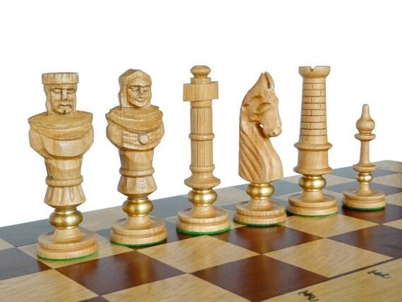 Unique Luxury Oak Wooden Chess Set Large 65x65cm By