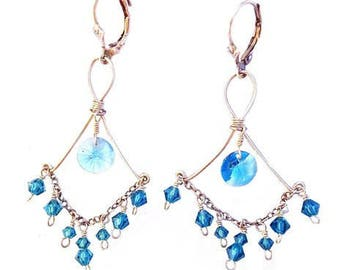 Blue Swarovski Crystal Earrings in Sterling Silver - 588cs