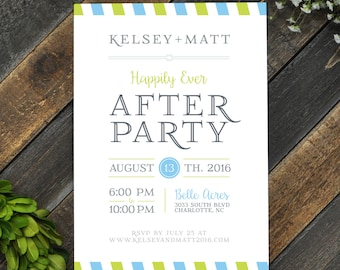 Postage Themed Party Invitation, Rehearsal Dinner Invitation, Stripes, Happily Ever After Party, Custom Wedding Stationery, Personalized