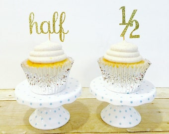 Half Birthday Cupcake Toppers / Set of 12