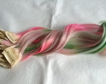 Rainbow pastel unicorn mermaid clip ins, single pieces, set of 6, 15 inches long!