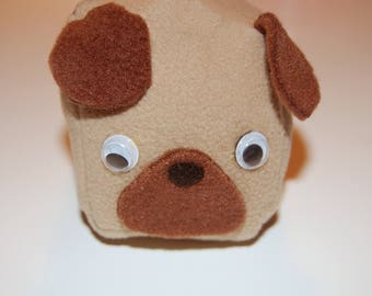 Square Pug Plush Toy with Googly Eyes