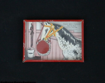 Vintage Dexterity Puzzle. Metal Side. Feed Bag Puzzle With Horse