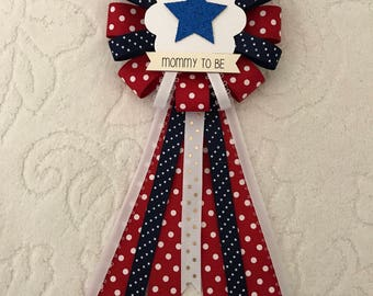 Mommy to be ribbon corsage for baby shower - it's a girl - it's a boy - gender neutral - red white & blue - patriotic - 4th of July baby