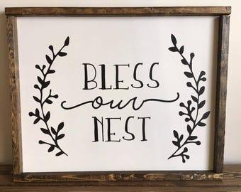 Bless Our Nest Farmhouse Sign